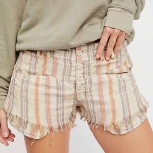 Free People button fly fray hem striped shorts